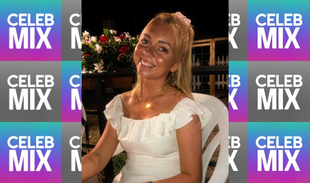 CelebMix logo background with Editor Josephine Sjelhøj wearing a white top and sitting on a white chair during the night.