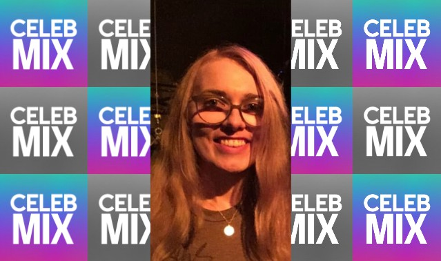 CelebMix logo background with Writer Laura Klonowski