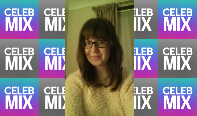 CelebMix logo background with Writer Lynn Macgillivray