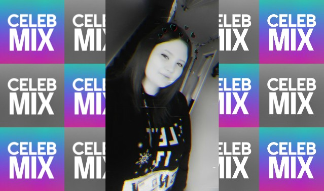 CelebMix logo background with Writer Chloe Bishop in a black and white filter