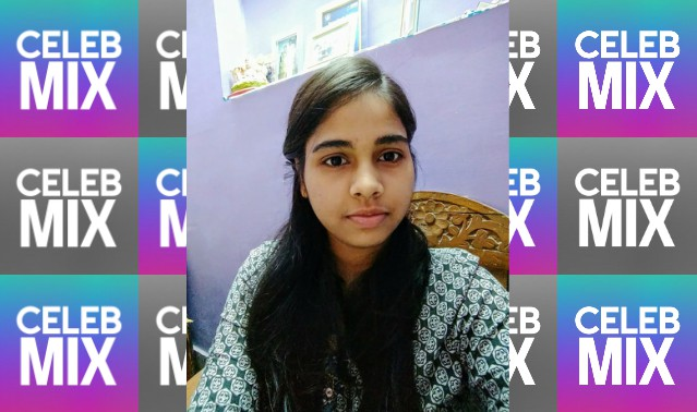 CelebMix logo background with Writer Ayushi posing