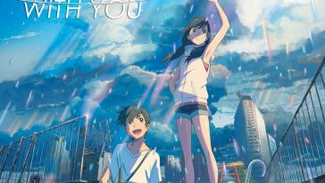 Weathing With You poster showing a rainy and cloudy day with Hodaka sitting whilst Hina is standing, looking up at the sky