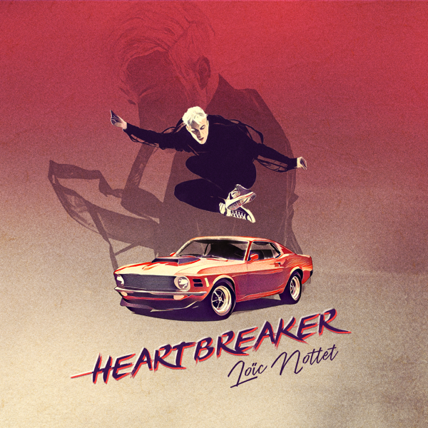 """The single artwork for """"Heartbreaker"""" by Loïc Nottet which sees him jumping over the top of a red car, with the words of the title and his name underneath the car."""