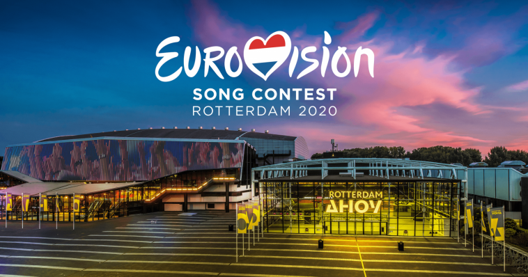 Image of Eurovision 2020 logo in the sky with the Rotterdam Ahoy venue displayed below