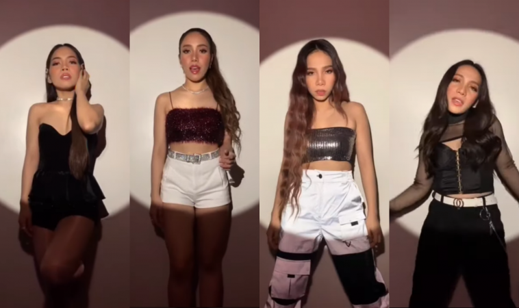 "A collage of each of the four girls of 4th Impact performing their song ""K(NO)W MORE"" in front of a white background with a round spotlight on each of them."