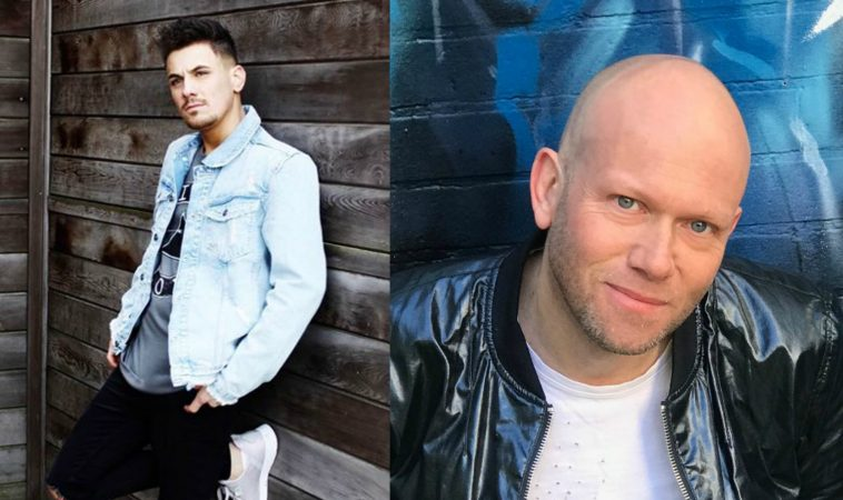 """Collage of the artists of the song """"If You Love Me"""" with Dario G on the right wearing a leather jacket in front of a blue neon background, and Danny Dearden on the left wearing a light blue denim jacket, black jeans, and white trainers, leaning against a wooden building."""