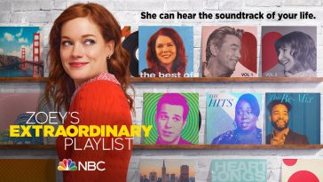 Promotional image for Zoey's Extraordinary Playlist which sees Janey Levy in the main role of Zoey wearing an orange jumper turned to the right loking at the camera over her shoulder as the rest of the cast can be seen behind her in square boxes.
