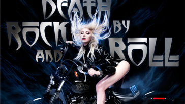 "Single artwork for ""Death By Rock And Roll"" by The Pretty Reckless which sees Taylor Momsen wearing a leather jacket and riding a motorbike whilst the wind pushes her hair back and blue flame-like smoke comes from the bike and the title of the song embossed in silver behind her."