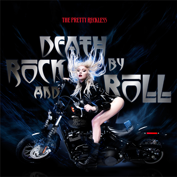 """Single artwork for """"Death By Rock And Roll"""" by The Pretty Reckless which sees Taylor Momsen wearing a leather jacket and riding a motorbike whilst the wind pushes her hair back and blue flame-like smoke comes from the bike and the title of the song embossed in silver behind her."""