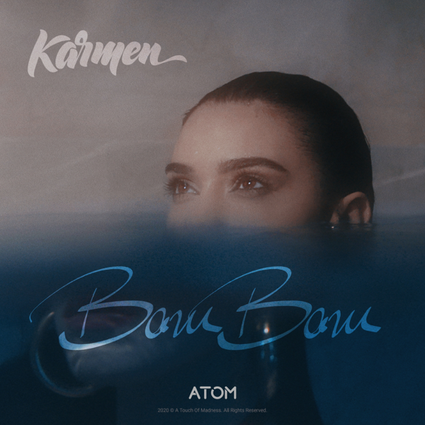"""Single artwork for """"Bam Bam"""" which sees Karmen submerged in water with half her head above the surface."""