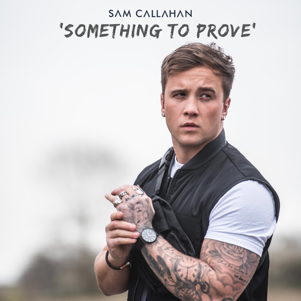"""The single artwork of """"Something To Prove"""" which sees Sam Callahan holding his wrist in front of him whilst wearing a short-sleeved white t-shirt and a black bomber jacket."""