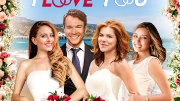 Promotional poster for Tell Me I Love You given to us for our review. It sees Ben dressed in a suit, with Ally and Melanie in wedding dresses and Cassie dressed in white holding on to Melanie's arm. Background is a beautiful landscape of Malibu and the image is bordered with wedding flowers.