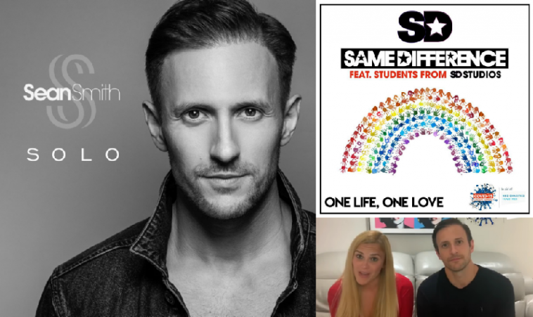 """Collage of images starting with the cover artwork of """"Solo"""" by Sean Smith on the left which is black and white and sees him looking into the camera, and on the right is the cover of """"One Life, One Love"""" by Same Difference which features a rainbow made out of hand prints, with Sarah Wilson and Sean Smith from Same Difference in the bottom right which is a still from the video that announced the new single."""
