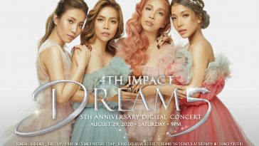 "Promo photo of 4th Impact for their ""Dreams Digital Concert"" seeing all four close together wearing pastel-coloured princess dresses."