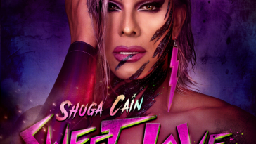 "Purple artwork cover for the single ""Sweet Love"" which sees Shuga Cain with wet-purple hair and her hand up on the right-side of her face, with a purple slash on her left cheek, and the words Shuga Cain Sweet Love across her chest."