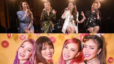 "Collage of the thumbnails from the videos of 4th Impact covering BTS's ""Dynamite"" and their cover of BLACKPINK & Selena Gomez's ""Ice Cream"". The top image sees the four sisters sitting on chairs in front of a band, whilst the below image shows them with bright coloured hair and an orange background."