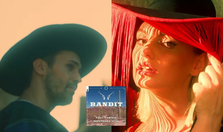 """Collage of stills from the """"Bandit"""" video with Paul Damixie on the left wearing a cowboy hat and Alexandra Stan on the right wearing her fringe cowboy hat."""