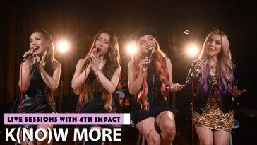 "4th Impact sitting on chairs wearing black, singing into microphones for their live session of ""K(NO)W MORE"""