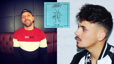 "Collage showing two images, the left image shows Bobby Harvey wearing a cap on backwards and a red, white, and blue jumper sitting down, while the right image shows Danny Dearden wearing a white sports jacket facing towards Bobby Harvey, with the single image artwork for ""Tell Me"" in the middle which is neon blue with a drawing of a pair of lips whispering in an ear."