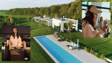 "Photo collage with main image showing the house where INNA will stay for 20 days as part of the ""Dance Queen's House"" project showcasing a swimming pool the three white buildings and the lush green grass surrounding the property with a photo in the bottom-left corner showing INNA relaxing on a sofa wearing a pink hoodie, and a photo in the top-right showing INNA wearing a pink cap with black headphones recording her voice into a microphone."