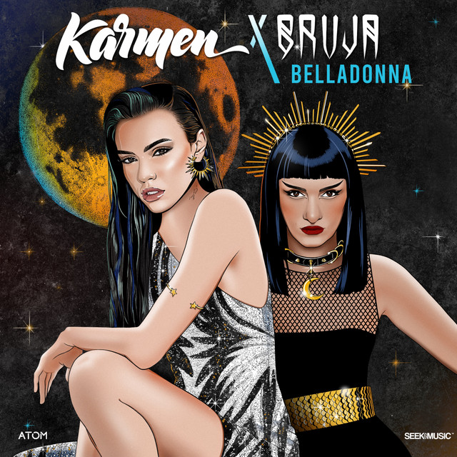 """Official single cover artwork for """"Belladonna"""" which sees Karmen wearing a silver dress, crouched on the left with her hair over one shoulder, and BRUJA on the right looking a bit like Cleopatra with a black dress and shoulder-length hair. A moon can be seen behind them."""